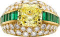 Estate Jewelry:Rings, Oscar Heyman Bros. Fancy Intense Yellow Diamond, Diamond, Emerald, Gold Ring. ...