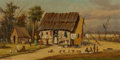 Fine Art - Painting, American:Antique  (Pre 1900), William Aiken Walker (American, 1838-1921). Cabin Scene, WashDay. Oil on board. 6-3/4 x 12-1/2 inches (17.1 x 31.8 cm)...