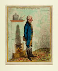 Books:Prints & Leaves, James Gillray. Original Hand-Colored Etching, The Comforts of aRumford Stove. London: H. Humphrey, 1800. Matted to ...