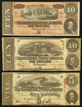 Confederate Notes:1863 Issues, T59 $10 1863 PF-18 Cr. 436;. T60 $5 1863 PF-27 Cr. 464;. T68 $101864 PF-42 Cr. 551.. ... (Total: 3 notes)