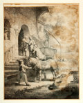 """Books:Prints & Leaves, Rembrandt. 18th Century Copy of His Original Etching Done in 1633.Matted to an overall size of 11"""" x 13.5"""". Tape residue to..."""