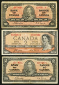 Canadian Currency: , BC-22b $2 1937, Two Examples. BC-30a $2 1954 Devil's Face. ...(Total: 3 notes)