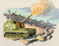 Pulp, Pulp-like, Digests, and Paperback Art, PIERRE RICARDO MION (American, b. 1931). Firing Tank, storyillustration, 1959. Gouache on board. 10.75 x 13.75 in. (sig...