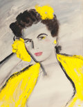 Pin-up and Glamour Art, AL MOORE (American, 20th Century). Lady in Yellow, circa1970s. Mixed media on board. 18.25 x 14 in. (sight). Signed lo...