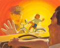 Mainstream Illustration, JAMES ARNOLD ERNST (American, b. 1916). Slow Down!, safetyposter illustration, 1970. Oil on canvasboard. 24 x 30 in..S...