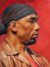 DAVE STEVENS (American, 1955-2008) Bandana, 2001 Oil on canvasboard 16 x 12 in. Not signed