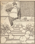 Mainstream Illustration, WINSOR MCCAY (American, 1871-1934). Keep Him Out, editorialcartoon. Pen and ink on paper. 14.675 x 11.5 in. (sheet). Si...
