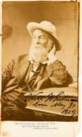 Autographs:Authors, Walt Whitman Photograph Signed....