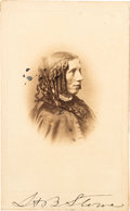 Autographs:Authors, Harriet Beecher Stowe Carte de Visite Signed...