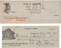 Baseball Collectibles:Others, 1917-30 Honus Wagner & Ty Cobb Signed Checks. ...