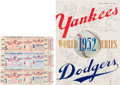 Baseball Collectibles:Tickets, 1952 World Series Program & Three Full Tickets. ...