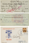 Baseball Collectibles:Others, 1938-57 Moe Berg Signed Checks & First Day Cover Lot of 3. ...