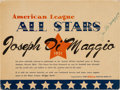Baseball Collectibles:Others, 1951 Joe DiMaggio All Star Game Display From Final Season. ...