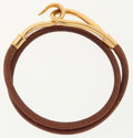 Luxury Accessories:Accessories, Hermes 38cm Natural Bridle Leather Jumbo Double Tour Bracelet withGold Hardware. ...