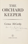 Books:Literature 1900-up, Cormac McCarthy. The Orchard Keeper. London: Andre Deutsch,[1966]. First English edition. Presentation copy, insc...