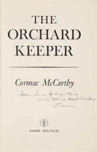 Cormac McCarthy. The Orchard Keeper. London: Andre Deutsch, [1966]. First English edition. P