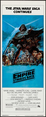 "The Empire Strikes Back (20th Century Fox, 1980). Insert (14"" X 36"") Dark Blue Style B. Science Fiction"