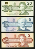 Canadian Currency: , BC-55a $2 1986. BC-56a $5 1986. BC-58a $20 1991. ... (Total: 3notes)