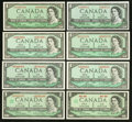 Canadian Currency: , A Nice Assortment of Canadian $1 Notes.. ... (Total: 8 notes)