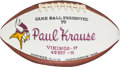 Football Collectibles:Balls, 1973 Paul Krause Painted Presentation Game Used Football - 10/14 Vs. 49ers....