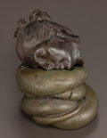 Sculpture, ROBERT GRAHAM (American, 1938-2008). Fragment Head (Gabrielle) (two-piece sculpture). Bronze with brown and green pa... (Total: 2 Items)