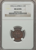 German East Africa, German East Africa: German Colony 1/2 Heller 1905-J MS64 Brown NGC,...