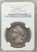 Dominican Republic, Dominican Republic: Republic 5 Francos 1891-A XF Details (Surface Hairlines) NGC,...