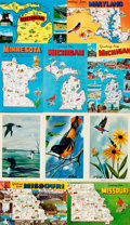 Miscellaneous:Postcards, [Postcards]. Group of Nineteen Travel Postcards Depicting Maryland,Michigan, Minnesota and Missouri. Various publishers. [n...
