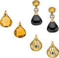 Estate Jewelry:Earrings, Antonini Diamond, Multi-Stone, Gold Earrings. ... (Total: 3 Items)