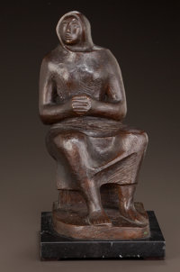 ELIZABETH CATLETT (American, 1915-2012) Rebozo Bronze with brown patina 11-1/4 inches (28.6 cm) h