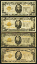 Small Size:Gold Certificates, Fr. 2400 $10 1928 Gold Certificate. Very Good; Fr. 2402 $20 Gold Certificates. Three Examples. Very Good or Better.. ... (Total: 4 notes)