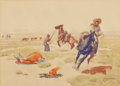 Western:20th Century, LEONARD HOWARD REEDY (American, 1899-1956). Rustlers, Rival Tribes, Sioux Indian, and Ponies Indian Races (four work... (Total: 4 Items)