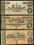 Confederate Notes:1864 Issues, T67 $20 1864. T68 $10 1864. T69 $5 1864. ... (Total: 3 notes)