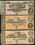 Confederate Notes:1862 Issues, T53 $5 1862 PF-8 Cr. 387. T68 $10 1864 PF-21 Cr. 547. T69 $5 1864PF-1 Cr. 558.. ... (Total: 3 notes)