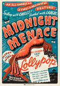"Movie Posters:Black Films, Midnight Menace (All-American, 1946). One Sheet (28.5"" X 40.5"")....."