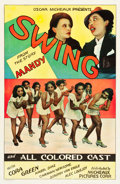 "Movie Posters:Black Films, Swing (Micheaux Film Corporation, 1938). One Sheet (26.75"" X 41"")....."