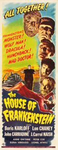"Movie Posters:Horror, House of Frankenstein (Universal, 1944). Insert (14"" X 36"").. ..."
