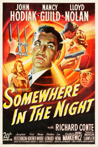 "Somewhere in the Night (20th Century Fox, 1946). One Sheet (27"" X 41""). Film Noir"