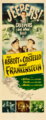 "Abbott and Costello Meet Frankenstein (Realart, R-1956). Insert (14"" X 36"")"