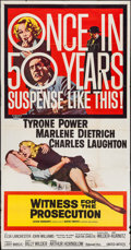 """Movie Posters:Mystery, Witness for the Prosecution (United Artists, 1958). Three Sheet (41"""" X 79""""). Mystery.. ..."""