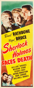 "Movie Posters:Mystery, Sherlock Holmes Faces Death (Universal, 1943). Insert (14"" X 36"")....."