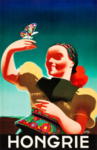 """Hungary Travel Poster (National Council of Tourist Traffic, Budapest, c. 1935). Full-Bleed Poster (24"""" X 36.75""""..."""