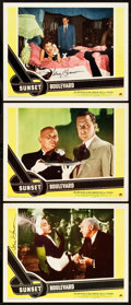 "Movie Posters:Film Noir, Sunset Boulevard (Paramount, 1950). Autographed Lobby Cards (2) andLobby Card (11"" X 14"").. ... (Total: 3 Items)"