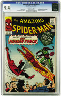 Silver Age (1956-1969):Superhero, The Amazing Spider-Man #17 (Marvel, 1964) CGC NM 9.4 Off-whitepages. The clean spine and immaculate edges of this copy are ...