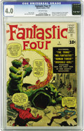 Silver Age (1956-1969):Superhero, Fantastic Four #1 (Marvel, 1961) CGC VG 4.0 Off-white pages. Here'sthe comic that started the Marvel phenomenon as we know ...