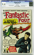 Silver Age (1956-1969):Superhero, Fantastic Four #10 (Marvel, 1963) CGC NM 9.4 White pages. The sameWest Coast collection that produced our senses-shattering...