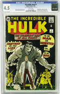 Silver Age (1956-1969):Superhero, The Incredible Hulk #1 (Marvel, 1962) CGC VG+ 4.5 White pages. Theorigin and first appearance of the Incredible Hulk shows ...