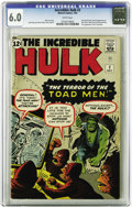 Silver Age (1956-1969):Superhero, The Incredible Hulk #2 (Marvel, 1962) CGC FN 6.0 White pages. Marvel's shirt-ripping man-monster makes his first appearance ...