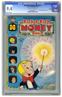 Richie Rich Money World #1 File Copy (Harvey, 1972) CGC NM 9.4 Off-white to white pages. First appearance of Mayda Munny...