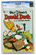 Golden Age (1938-1955):Funny Animal, Four Color #408 Donald Duck and the Golden Helmet - File Copy(Dell, 1952) CGC VF 8.0 Off-white pages. Carl Barks story, cov...